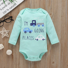Load image into Gallery viewer, Baby Boy Matching Hoodie, Pants & Onesie Bodysuit Sets - Camanda Baby - mint blue long sleeve onesie bodysuit labelled I'm going places with blue cars decor