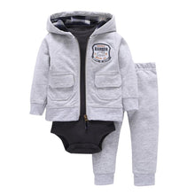 Load image into Gallery viewer, Baby Boy Matching Hoodie, Pants & Onesie Bodysuit Sets - Camanda Baby - gray zippered hoodie with front pockets and cattle ranger patch with matching pants gray and dark gray long sleeve onesie bodysuit