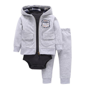 Baby Boy Matching Hoodie, Pants & Onesie Bodysuit Sets - Camanda Baby - gray zippered hoodie with front pockets and cattle ranger patch with matching pants gray and dark gray long sleeve onesie bodysuit