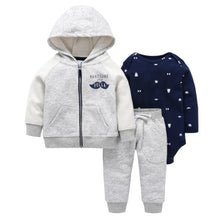 Load image into Gallery viewer, Baby Boy Matching Hoodie, Pants & Onesie Bodysuit Sets - Camanda Baby - gray and white zippered hoodie with handsome little fella mustache decor and matching gray pants with navy blue bow tie and top hat print long sleeve onesie bodysuit