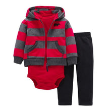 Load image into Gallery viewer, Baby Boy Matching Hoodie, Pants & Onesie Bodysuit Sets - Camanda Baby - red and gray striped hoodie with black sweatpants and red long sleeve onesie bodysuit