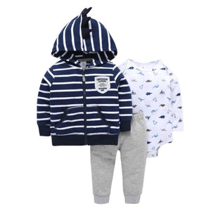 Baby Boy Matching Hoodie, Pants & Onesie Bodysuit Sets - Camanda Baby - navy and white striped hoodie with dinosaur expert patch with gray sweatpants and white onesie bodysuit with blue dinosaur print