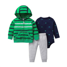 Load image into Gallery viewer, Baby Boy Matching Hoodie, Pants & Onesie Bodysuit Sets - Camanda Baby - green and gray striped hoodie with gray sweatpants and navy blue onesie bodysuit with light blue whale print