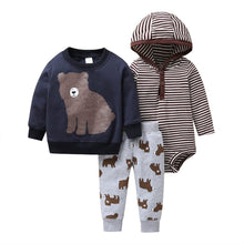 Load image into Gallery viewer, Baby Boy Matching Hoodie, Pants & Onesie Bodysuit Sets - Camanda Baby - navy hoodie with brown bear decor and matching bear print gray sweatpants and borwn and white striped hooded onesie bodysuit