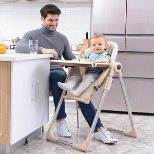 Baby Feeding Adjustable Folding High Chair with Wheels - Camanda Baby - dad with baby in high chair