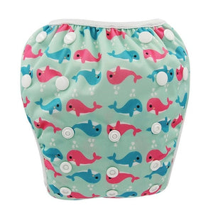 Reusable Adjustable Baby Swim Diapers - Camanda Baby - Blue Pink Whale