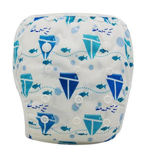 Load image into Gallery viewer, Reusable Adjustable Baby Swim Diapers - Camanda Baby - Blue Boats