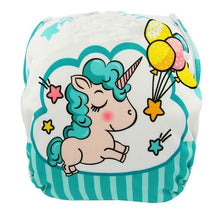 Load image into Gallery viewer, Reusable Adjustable Baby Swim Diapers - Camanda Baby - Unicorn Blue