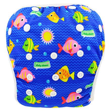 Load image into Gallery viewer, Reusable Adjustable Baby Swim Diapers - Camanda Baby - Blue Fish
