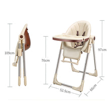 Load image into Gallery viewer, Baby Feeding Adjustable Folding High Chair with Wheels - Camanda Baby - beige chair with dimensions and folding profile