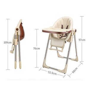 Baby Feeding Adjustable Folding High Chair with Wheels - Camanda Baby - beige chair with dimensions and folding profile