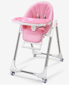 Baby Feeding Adjustable Folding High Chair with Wheels - Camanda Baby - Pink