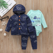 Load image into Gallery viewer, Baby Boy Matching Hoodie, Pants & Onesie Bodysuit Sets - Camanda Baby - blue car print with brown button hoodie and matching pants with mint green long sleeve onesie labelled I'm going places