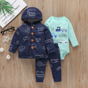 Baby Boy Matching Hoodie, Pants & Onesie Bodysuit Sets - Camanda Baby - blue car print with brown button hoodie and matching pants with mint green long sleeve onesie labelled I'm going places