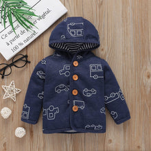 Load image into Gallery viewer, Baby Boy Matching Hoodie, Pants & Onesie Bodysuit Sets - Camanda Baby - blue car print with brown button hoodie