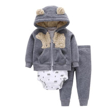 Load image into Gallery viewer, Baby Boy Matching Hoodie, Pants & Onesie Bodysuit Sets - Camanda Baby - gray hoodie with polar bear decor and bear ears on hood and matching gray pants with polar bear print white long sleeve onesie bodysuit