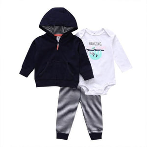 Baby Boy Matching Hoodie, Pants & Onesie Bodysuit Sets - Camanda Baby - navy blue zippered hoodie with striped lining and matching navy and white striped pants and white long sleeve onesie bodysuit with a sloth mom and baby decor labelled hanging with mommy