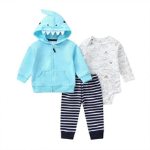 Load image into Gallery viewer, Baby Boy Matching Hoodie, Pants & Onesie Bodysuit Sets - Camanda Baby - baby blue shark zippered hoodie with shark teeth and fin decor on hood, black and white striped pants and white shark print long sleeve onesie bodysuit