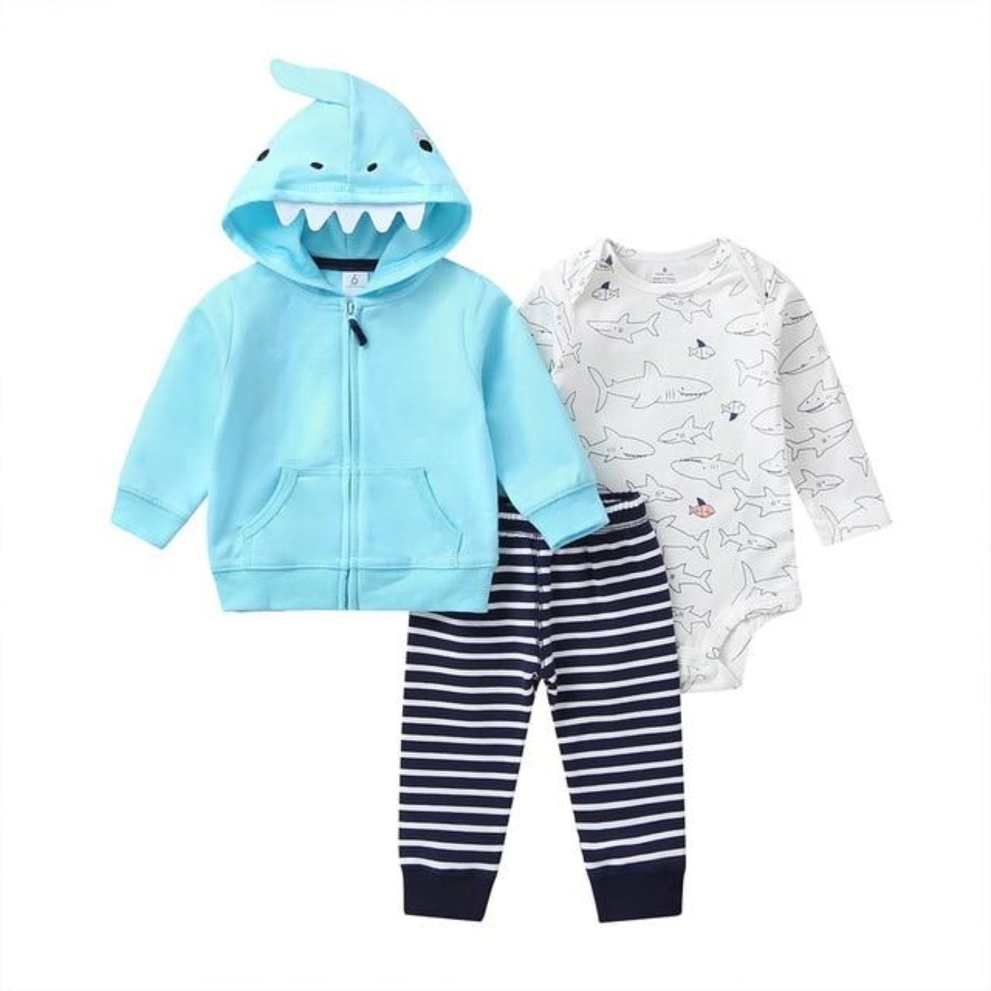 Baby Boy Matching Hoodie, Pants & Onesie Bodysuit Sets - Camanda Baby - baby blue shark zippered hoodie with shark teeth and fin decor on hood, black and white striped pants and white shark print long sleeve onesie bodysuit