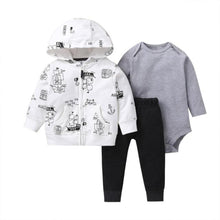 Load image into Gallery viewer, Baby Boy Matching Hoodie, Pants & Onesie Bodysuit Sets - Camanda Baby - white zipper hoodie with pirate ship print, gray long sleeve onesie bodysuit and black pants