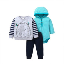 Load image into Gallery viewer, Baby Boy Matching Hoodie, Pants & Onesie Bodysuit Sets - Camanda Baby - gray and black striped hoodie with monster decor and black sweatpants and blue and white striped hooded onesie bodysuit