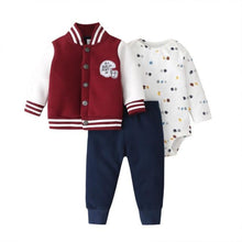 Load image into Gallery viewer, Baby Boy Matching Hoodie, Pants & Onesie Bodysuit Sets - Camanda Baby - burgundy red and white letterman buttoned jacket labelled no. 1 half-pint  with navy blue pants and white long sleeve sports balls print onesie bodysuit