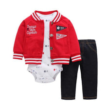 Load image into Gallery viewer, Baby Boy Matching Hoodie, Pants & Onesie Bodysuit Sets - Camanda Baby - red and white letterman buttoned jacket labelled daddy's team captain and baby all-star with black denim pants and white long sleeve sports balls print onesie bodysuit