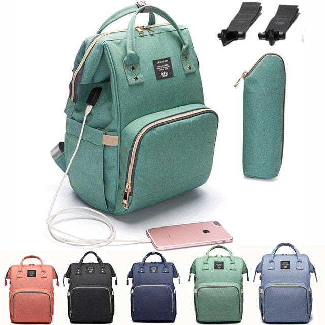 USB Baby Diaper Backpack With Add On Accessories