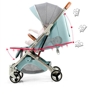 Baby Stroller Lightweight Portable Travel System - Camanda Baby - reclining example of stroller with child