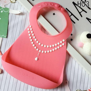 Waterproof Silicone Baby Food-Grade Bibs - Pink Necklace - Camanda Baby