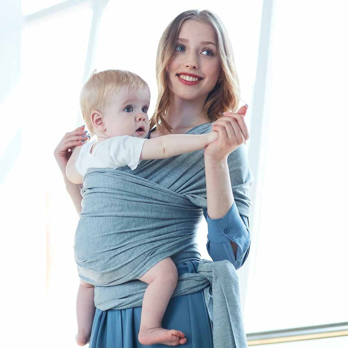 Breathable Cotton Baby Carrier Sling Wrap - Camanda Baby - mom and baby in grey baby sling wrap