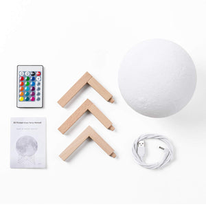 Moon Lamp Modern 3D Print 16 Colors LED Night Light - [variant_title] - Camanda Baby