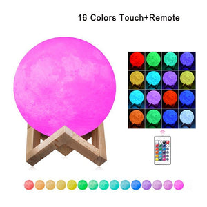 Moon Lamp Modern 3D Print 16 Colors LED Night Light - Camanda Baby - [variant_title]