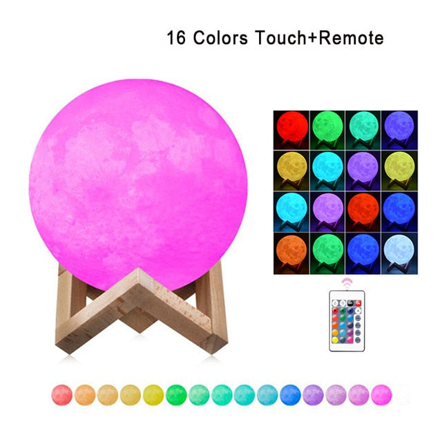 Moon Lamp Modern 3D Print 16 Colors LED Night Light - Default Title - Camanda Baby