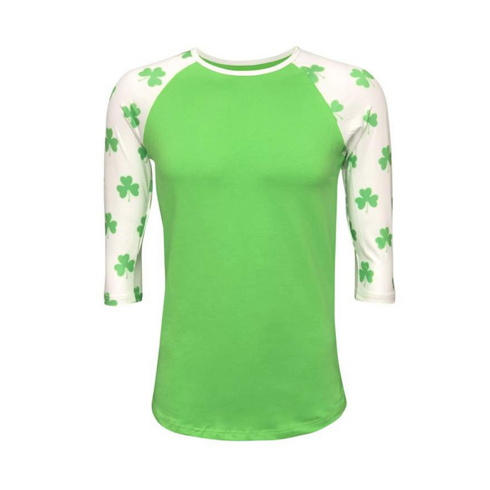 Green & White Clover Leaf Print Raglan Shirt - Camanda Creations - Small