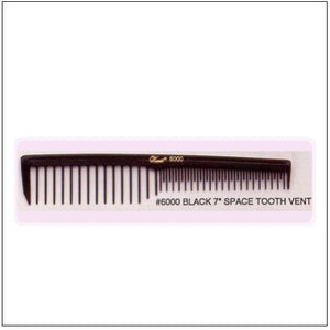 "Krest 6000 Black 7"" Space Tooth Vent Comb - beautysupply123 - 1"
