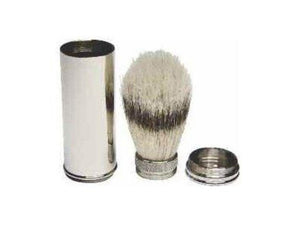 Kingsley - Pure Bristle Shave Brush Travel Brass/Nickel Plated - beautysupply123 - 1