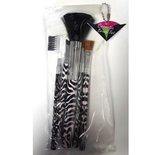 5 Piece Zebra Makeup Brush Set Pink