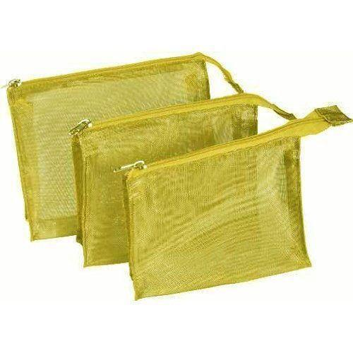 Kingsley Gold Mesh 3 Piece Cosmetic Bag Set - beautysupply123