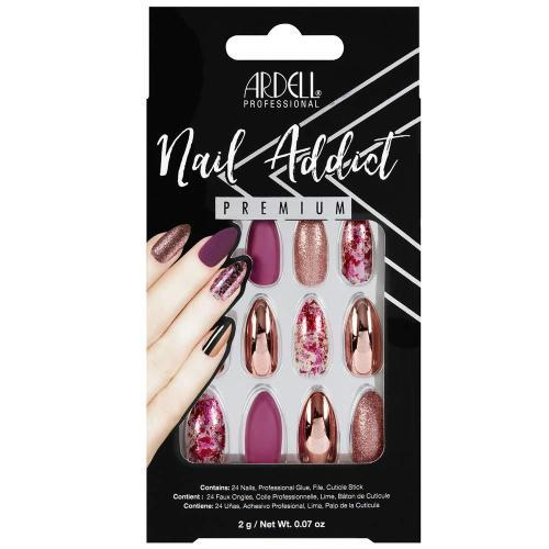 Ardell Nail Addict Premium Artificial Nail Set- Chrome Pink Foil