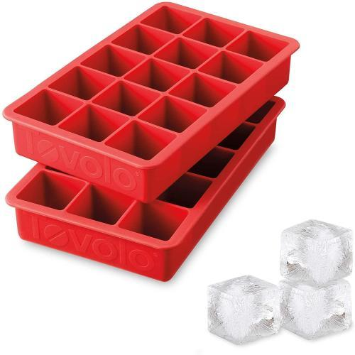 Tovolo Perfect Cube Ice Mold Trays- Candy Apple Red