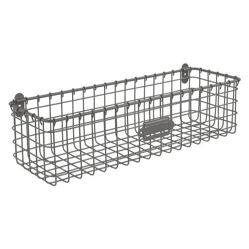Spectrum Vintage Living Wall Mount Basket- Industrial Gray