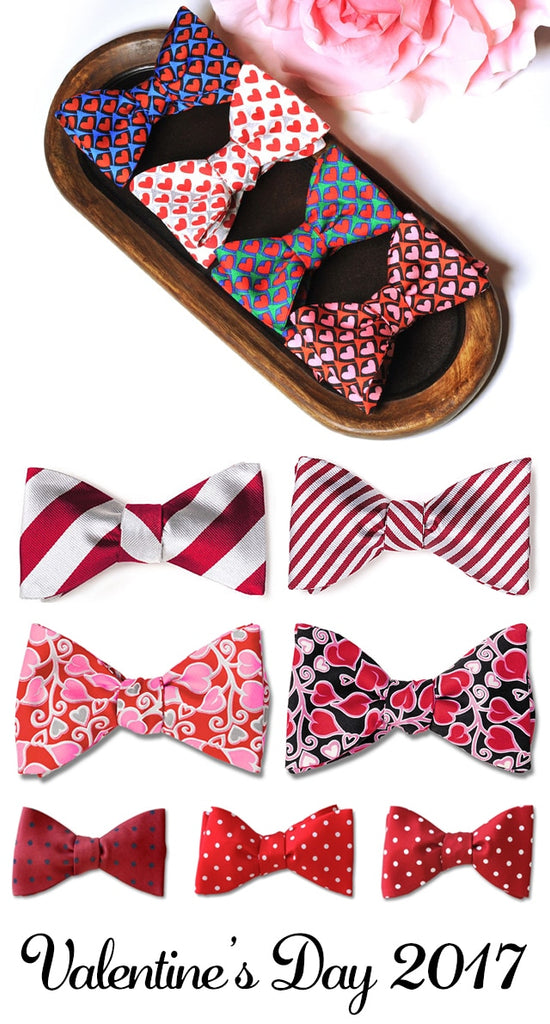 Valentine's Day hearts bow ties