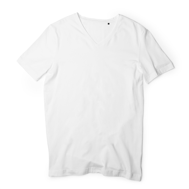 T-shirt Homme - COL V - 100% Coton BIO - B&C - Blanc - Print on demand from Europe | T-Pop