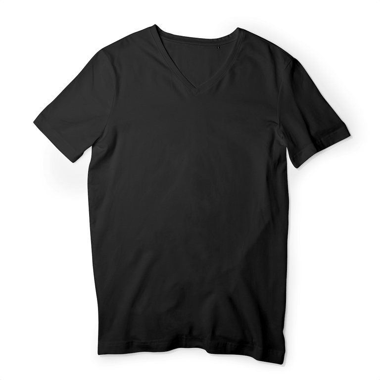 T-shirt Homme - COL V - 100% Coton BIO - B&C - Noir - Print on demand from Europe | T-Pop