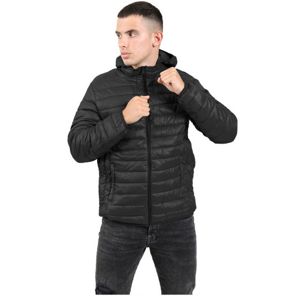 Nova Mens Black Winter Jacket Zip Top Hoodie Full Sleeve Coat Black