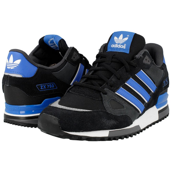 ADIDAS MENS ZX750 ORIGINALS CLASSIC TRAINERS SUEDE SNEAKERS BLACK