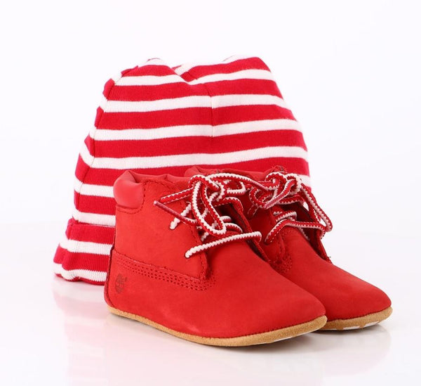 Timberland Kids Gift Set Crib Bootie & Hat Kids Shoes  Footwear Red
