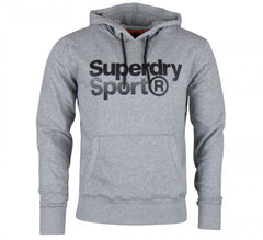 Superdry Mens Core Sport Overhead Hoodie Long Sleeve Pullover Top   Grey