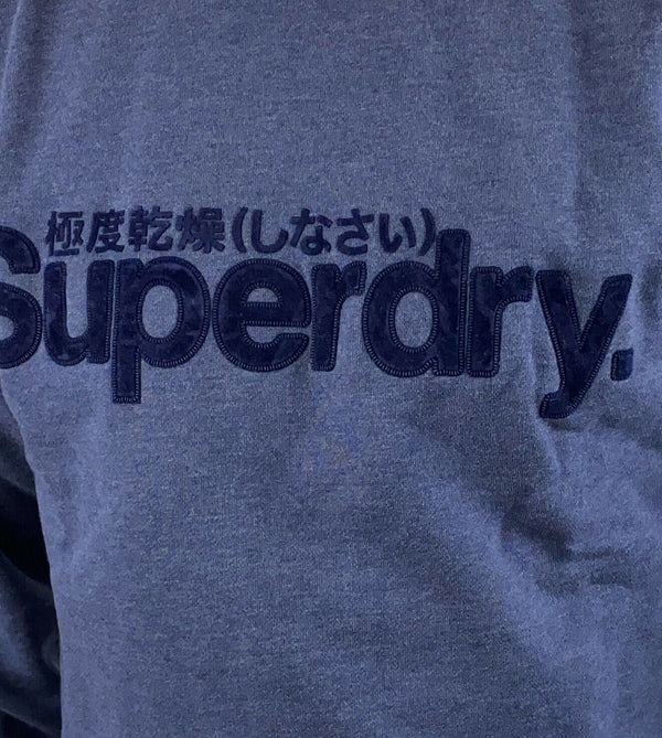Superdry Mens Core Logo Faux Suede Crew Top Pullover  Princedom Blue Marl